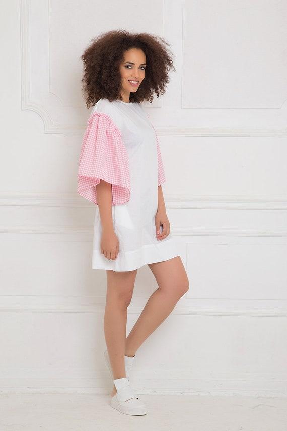 Dress Dress Sexy White Beach Summer Dress Dress Oversized Dress Pink White Mini Tunic Clothing Short Plus Dress Tunic Dress Size Tunic ZwFBO