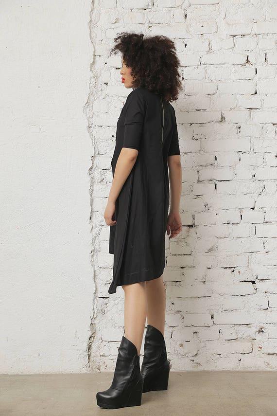 Dress Dress Casual Office Black Black Dress Dress Black Dress Wide Sleeved Dress Ladies Dress Dress Asymmetric Women Short Summer AnRq6At