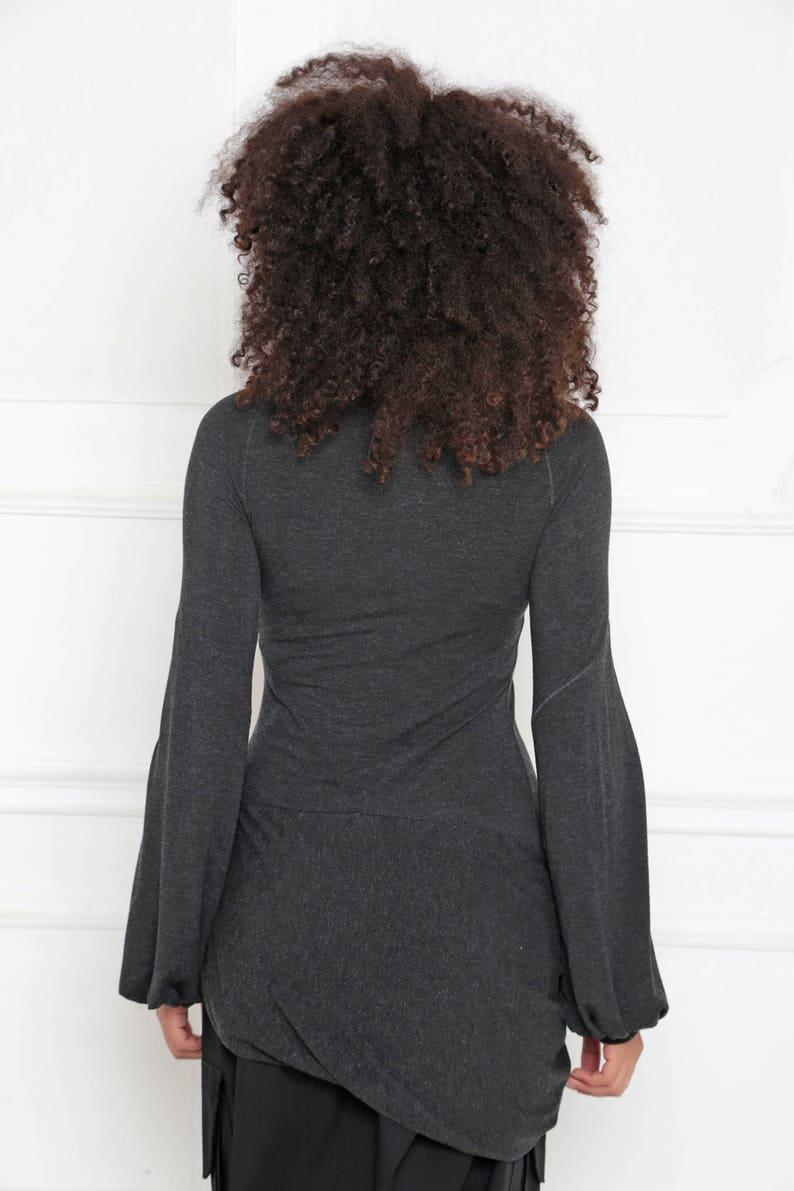 Loose Top Asymmetric Blouse Women Tunic Top Black Blouse Steampunk Plus Size Maxi Top Gothic Clothing A-3001 Maxi Blouse Wrap Top