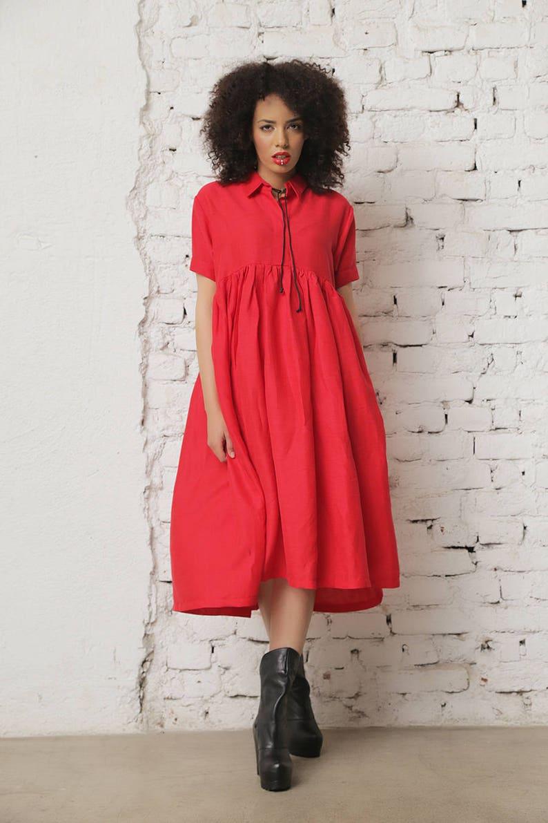 Red Linen Dress Linen Clothing Boho Maxi Dress Plus Size | Etsy