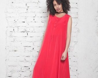 Plus Size Maxi Dress/ Red Caftan Dress/ Red Dress/ Prom Dress/ Asymmetric Dress/ Oversize Long Dress/ Shirt Dress/ Casual Dress/ Sheer Dress