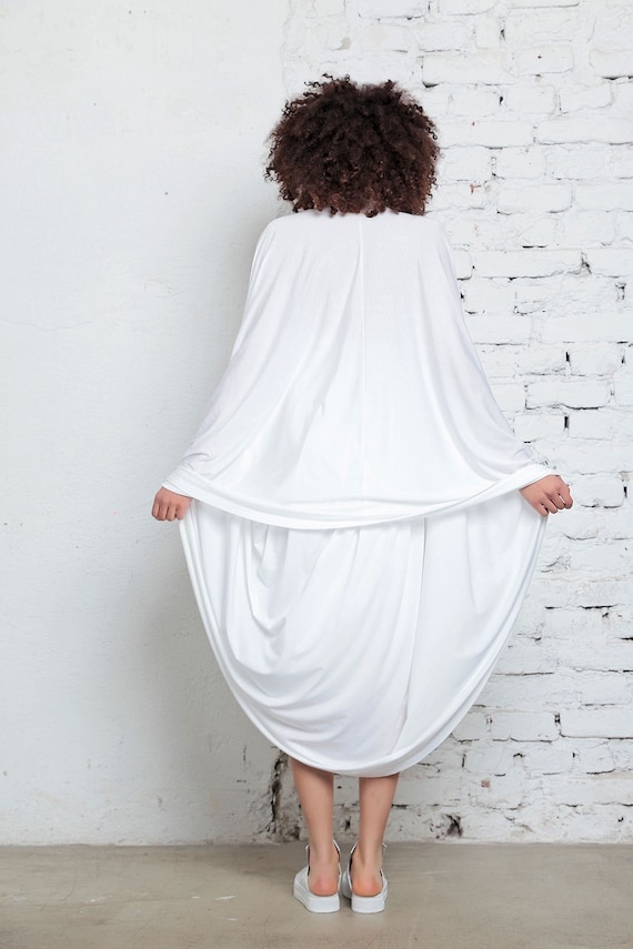 Clothing Dress Party Knee Dress Beach Dress Minimalist Wedding Length White Dress Dress Extravagant Dress Cape Dress Party Futuristic q5Rnx4wXS