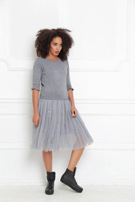 Tulle Dress, Trendy Plus Size Clothing, Women Dress, Knitting Dress,  Minimalist Dress, Plus Size Dress, Gray Dress, Long Sleeve Dress,A-3018