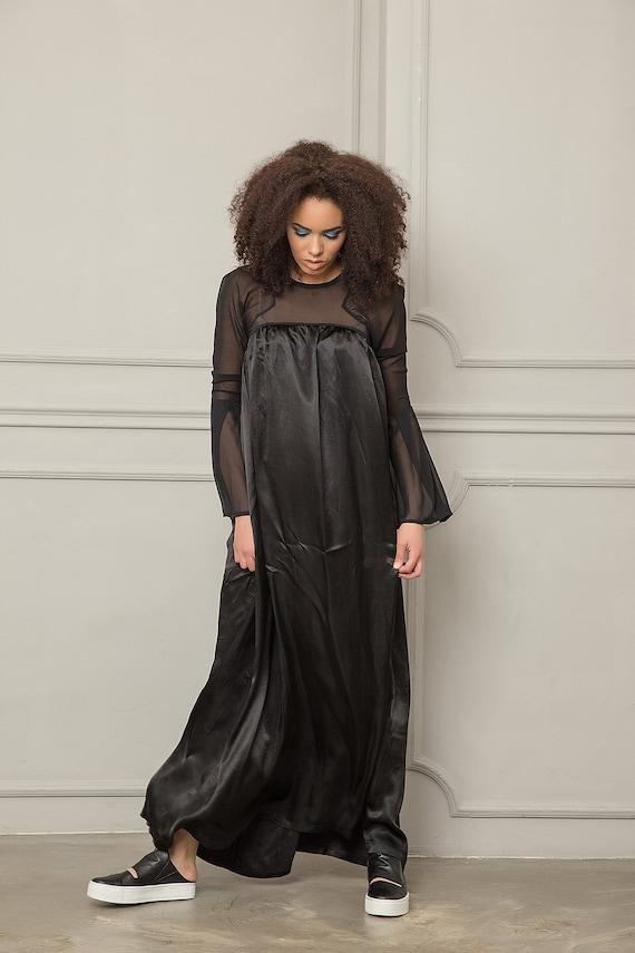 Maxi Dress, Satin Dress, Black Dress, Cocktail Dress, Japanese Dress, Sheer Dress, Elegant Dress, Evening Dress, Mesh Dress, Oversized Dress