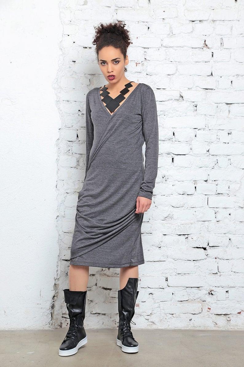 Dress For Women Gray Dress Plus Size Clothing V Neck Dress | Etsy