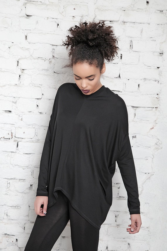 Tunic Maxi Top Oversized Loose Tunic Blouse Loose Top Sleeve Long Jumper Oversize Plus Size Black Tunic Blouse wSvaqwO