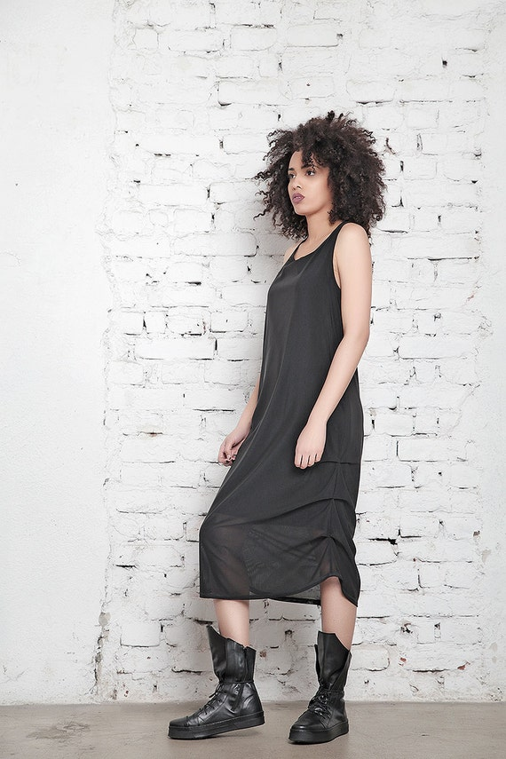 Black Tunic Plus Drape Dress Club Dress Mesh Loose Size Convertible Dress Dress Tank Dress Dress Dress Dress Dress Gothic aBwItx1