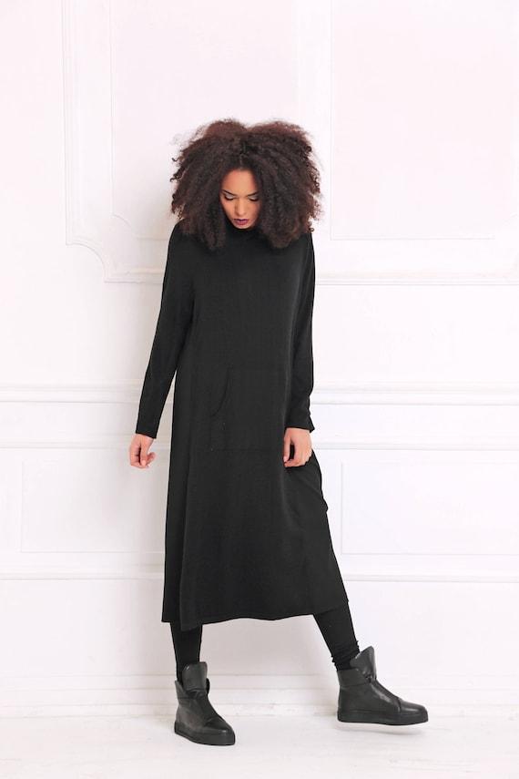 Dress Clothing Size Plus Dress Dress Dress Knitted Women Black Long A3069 Gothic Winter Dress Dress Dress Maxi Oversized Dress xxqvI7