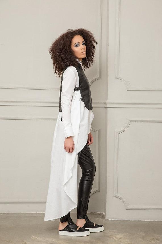 Elegant Top Vest Faux Vest Women Vest Clothing Vest Plus Vest Vest Steampunk Leather Leather Extravagant Black Size Oversized Vest Fw0OO