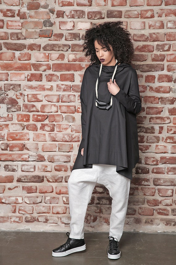 Top Loose Tunic Plus Tunic Hoodie Maxi Top Black Asymmetric Tunic Women Yoga Hoodie Black Size Top Tunic Hoodie Hooded Black C86cqwHR
