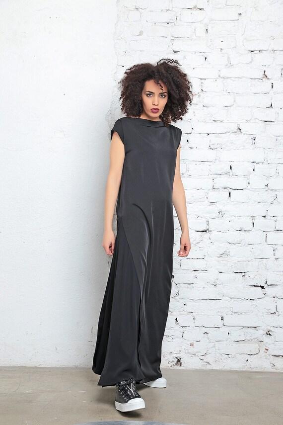 Black Maxi Dress, Chiffon Dress, Summer Maxi Dress, Plus Size Dress, Kaftan  Dress, Long Dress, Vampire Dress, Gothic Dress, Black Kaftan