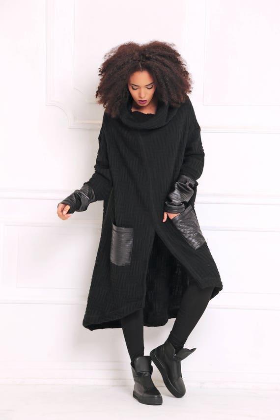 Winter Strickjacke, schwarze Strickjacke, Plus Größe Kleidung, Gothic Kleidung, übergroße Mantel, Frauen Poncho, Maxi Strickjacke, Goth Frauen