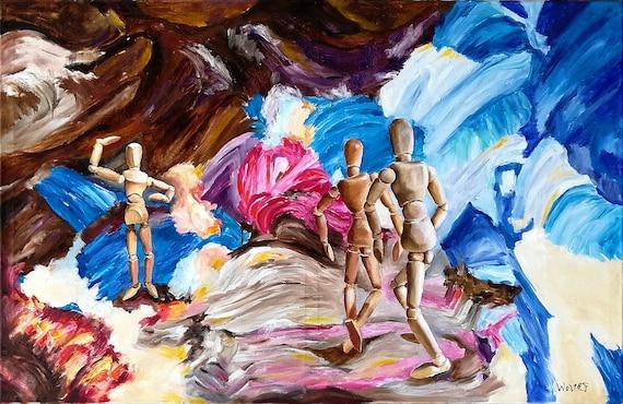 Grande Peinture à L Huile Murale Art Déco Salon Peinture Originale