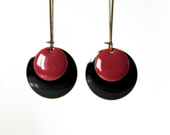 Earrings raspberry black Sequins