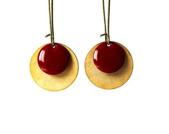 Brick red enamel earrings