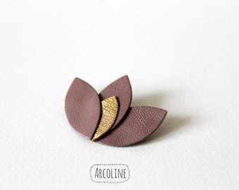 Lotus petal Violet and gold leather brooch