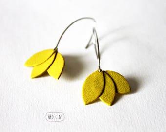 Leather yellow Lotus petal earrings