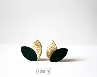 Earring studs leather khaki gold petals