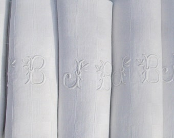 6 Extra Large 'JB' Antique French Napkins with Monogram JB.  Vintage French Monogrammed Lapkins with Initials JB.