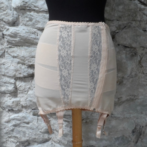 Vintage Boned Corset Garter Girdle with Suspender