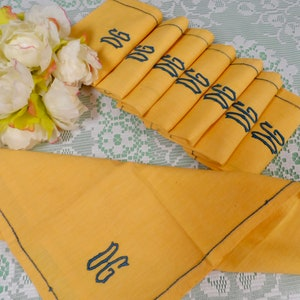 Set of 6 French AJ Monogram Napkins and Matching Double AJ Monogrammed Tablecloth in Red Green and Cream Check from 1950s