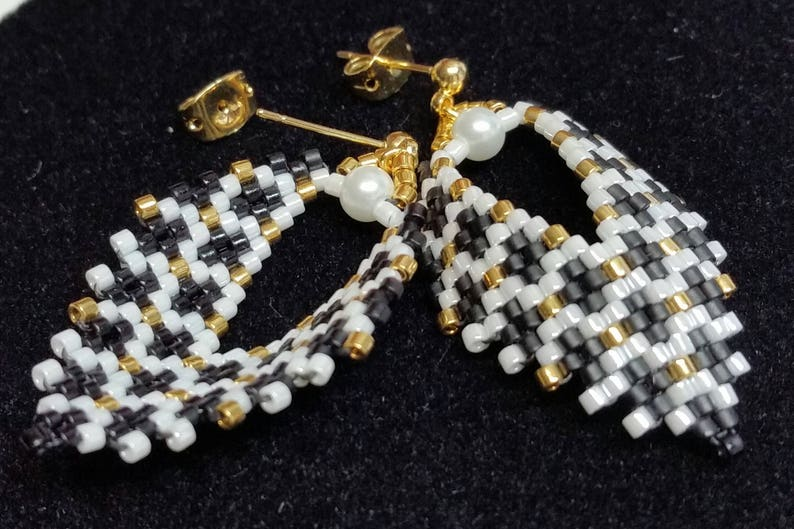 Russian Leaf Earrings Black White and Gold