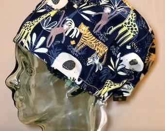 5473ff1fd93cc Jungle Animals on Navy Surgical Scrub Hat