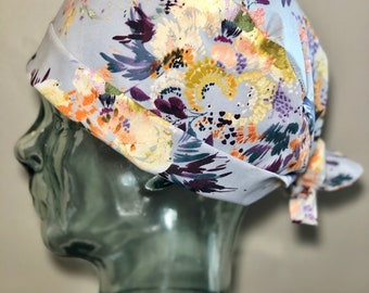 Watercolour Blooms on Grey Surgical Scrub Hat 1e3f3666750