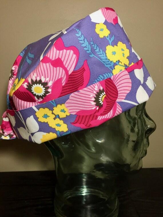 90cb32a831f Fuchsia Flowers on Purple Surgical Scrub Hat Beautiful