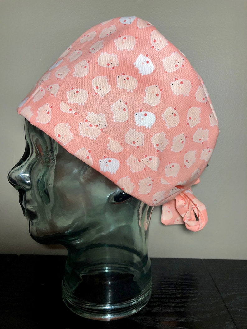 78441df4ac7d3 Tiny Pigs on Pink Surgical Scrub Hat Adorable Women s