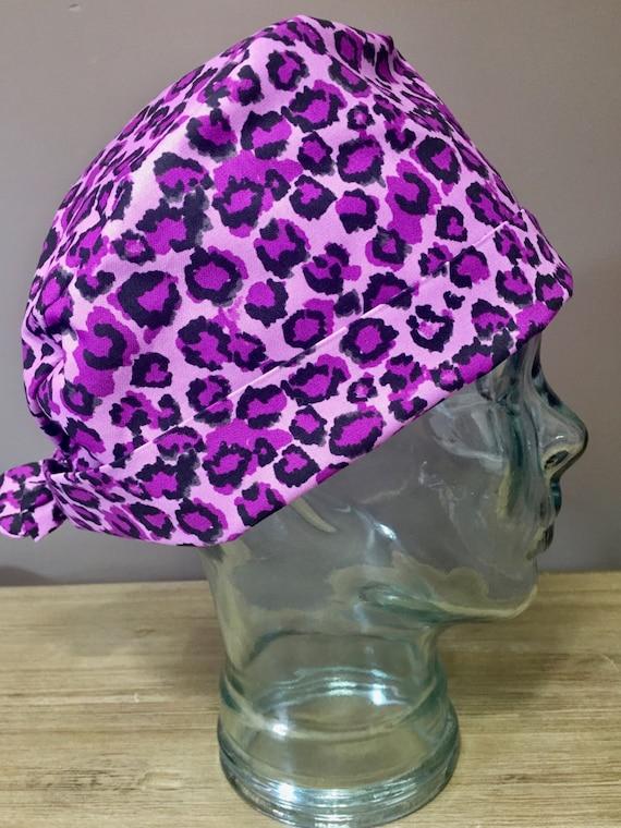 bab6c483b66 Purple Leopard Print Surgical Scrub Hat Women s Pixie