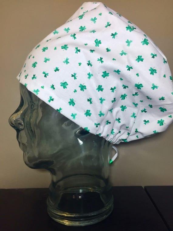 Green Watercolour Shamrock Surgical Scrub Hat Women s St  ae96df04ae92