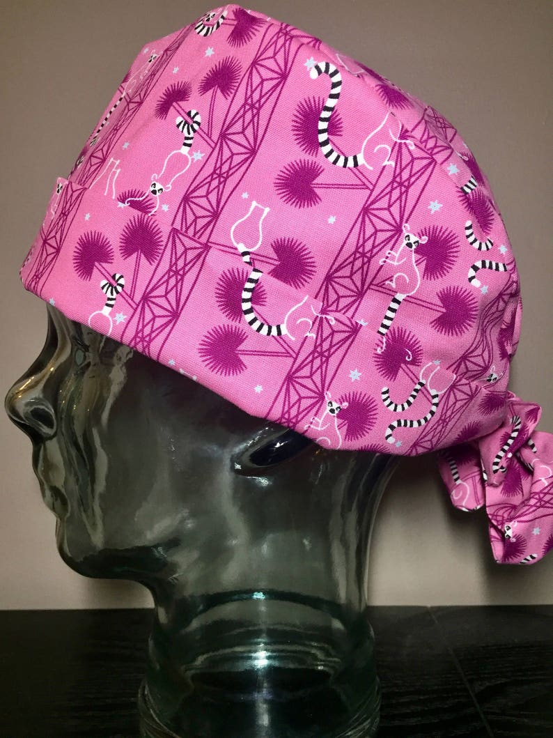 8c9f7ba53a531 Ring Tailed Lemurs on Pink Surgical Scrub Hat Adorable