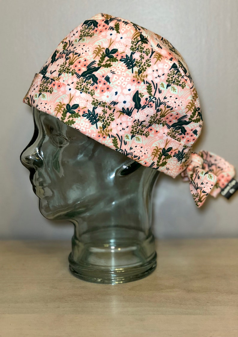 63c2f2631ff1a Mint and Gold Meadow Flowers on Pink Surgical Scrub Hat