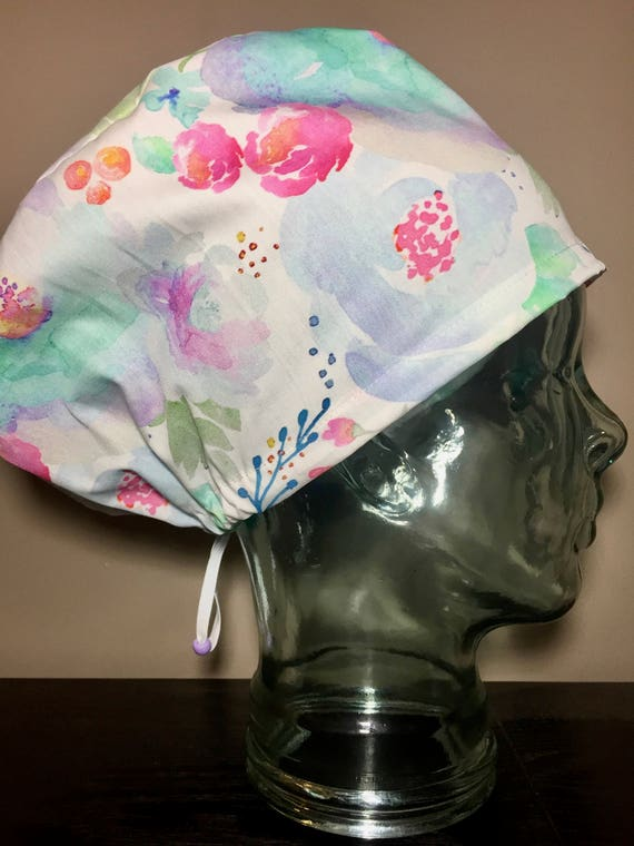 87e710b316b Purple Mint   Fuchsia Watercolour Florals Surgical Scrub Hat
