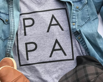 PAPA Dad Daddy // Men's T-Shirt // Tri-Blend Gray // Father's Day Gift // Modern Dad Clothes