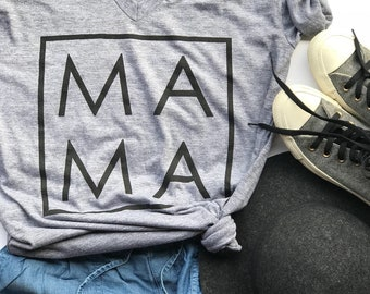 MAMA Mom Mommy // Women's T-Shirt // Tri-Blend Gray // Gift for Mother // Modern Mom Clothes // Mother's Day Gift // Everyday Mama