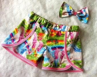 girls unicorn shorts, colourful unicorns, kids clothes, fairytales, princesses, girls shorts, summer wear, pretty unicorn, rainbows, shorts