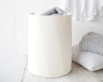 Large Toy Storage Basket. Storage Bin. Fabric Basket. Canvas Storage Bin.  Bathroom Bucket. White Home Decor. Nursery Decor