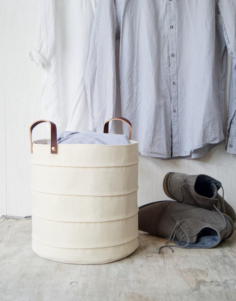 . Storage basket  Laundry hamper  Toy storage bin  Canvas storage bin  Baby  hamper  Bathroom storage bucket  White nursery decor  Toy storage
