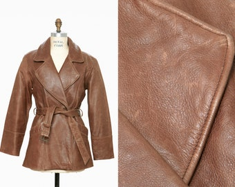 9a9cb5e300267 vintage 70s distressed brown leather military style aviator belted peacoat  - M