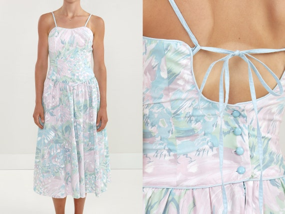 80s Pastel Floral Corset Bodice Summer Party Dress