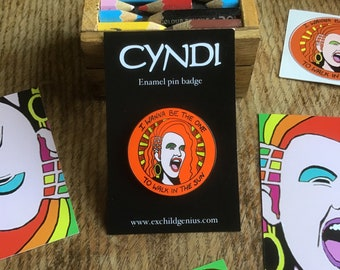 Cyndi Lauper Glitter Pin! Stunning Full Colour Enamel Pin Badge of a POP ICON. Seriously Superb! Perfect Mother's Day Gift for Cool 80s Mum.