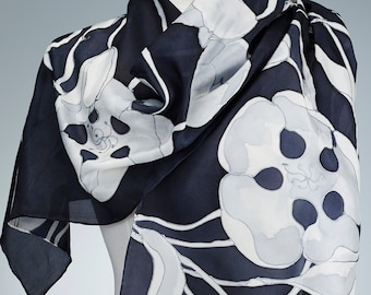 Hand Painted black-and-white Silk Scarf, Silk Shawl using French dyes. White tulips on black.