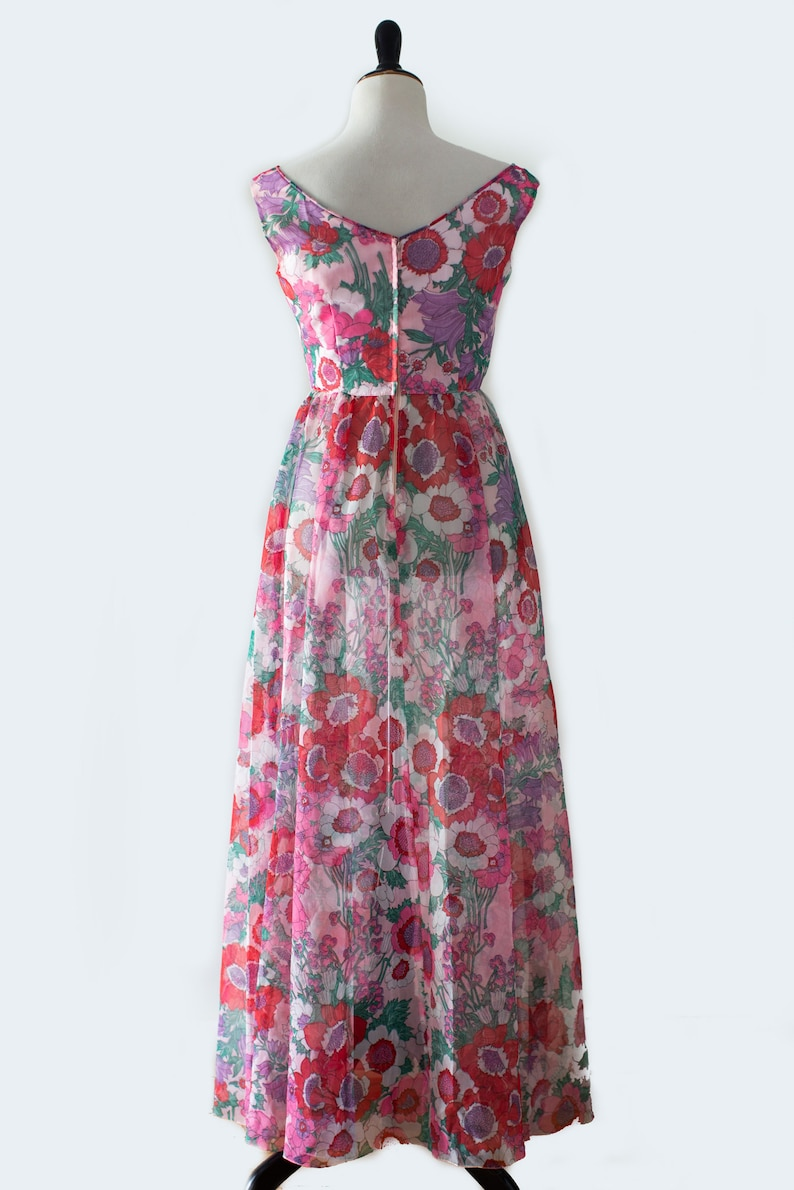 60s70s Neon Pink Purple and Green Floral Pattern Off the Shoulder Handmade Dress