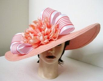 Peach Coral Stripe Bow Jewel Flower Kentucky Derby Church Dressy Straw Hat 65a41a42f21