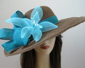 Brown Turquoise Kentucky Derby Rhinestone Flower Dressy Church Hat