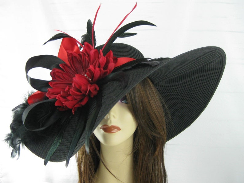 abbec5a7639f Black Red Jeweled Flower Feather Kentucky Derby Wide Brim | Etsy
