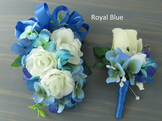 Wedding Prom Blue Cream Roses Flowers Wrist Corsage or 2pc | Etsy
