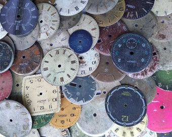 100 pcs. Watch Face Dials, From Old Watch Parts, & Dials For Steampunk Altered Art Gear, Repair, or ScrapBooking #176